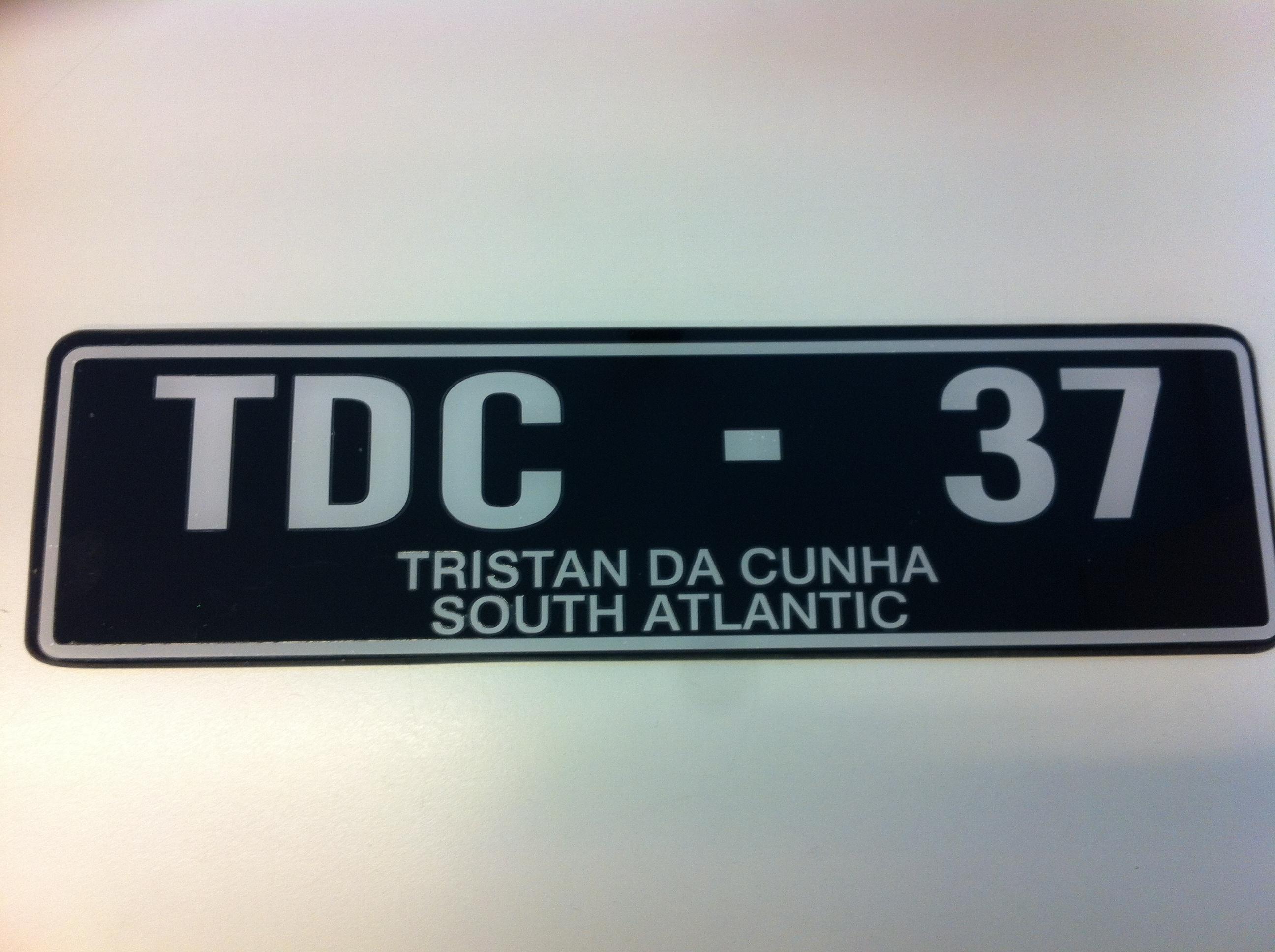 enrico gasperi_ car number plate (original) Tristan da Cunha